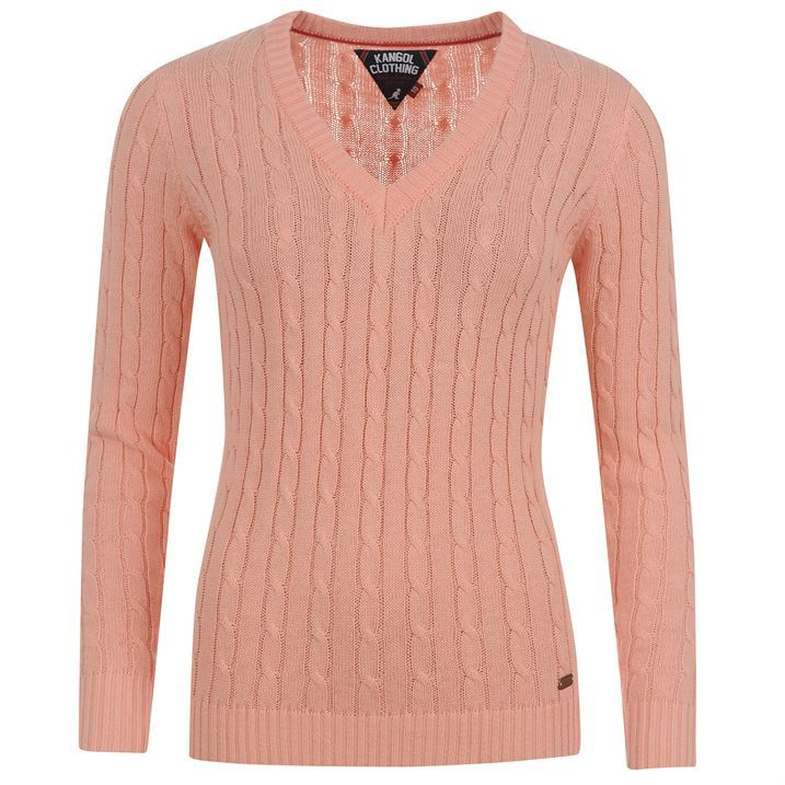 kangol womens cable v neck knit ladies pullover cotton jumpe
