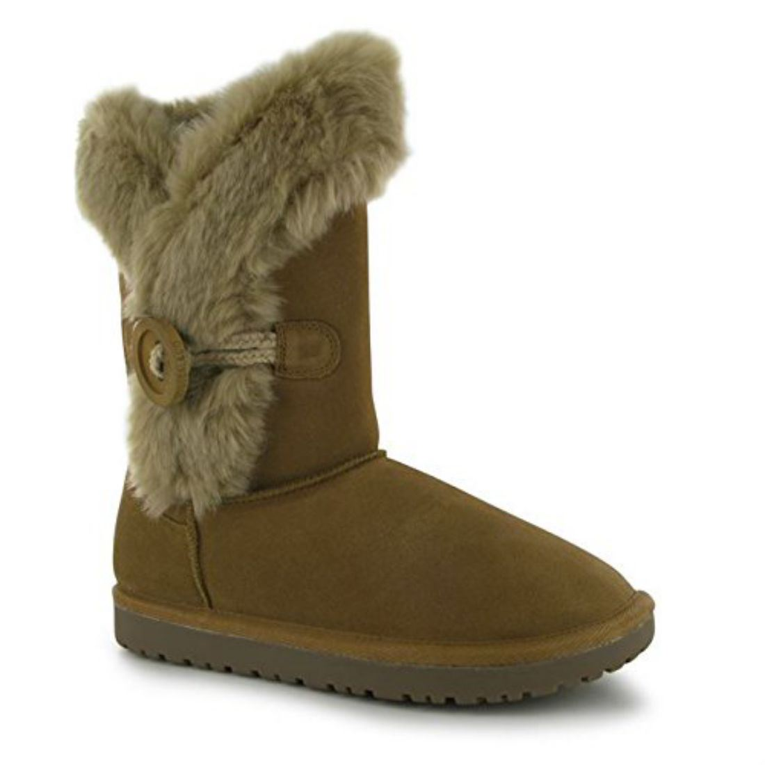 SoulCal Womens Button Ladies Snug Boots Winter Shoes Faux