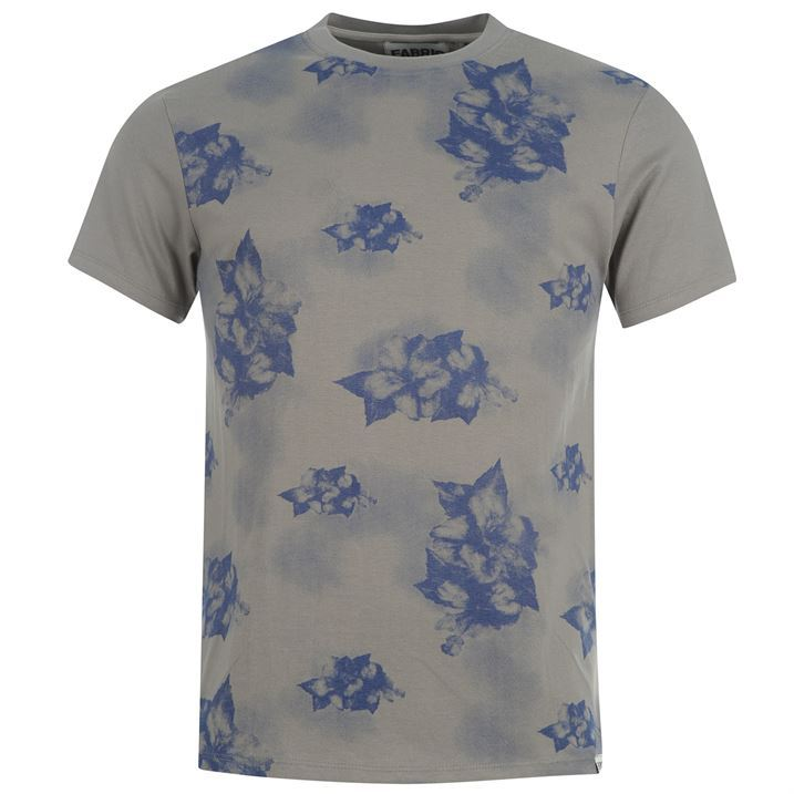 fabric mens all over print top cotton casual printed male