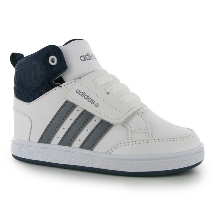 33a41921e50 adidas Kids Neo Hoops Mid Infants Hi Tops Trainers Shoes Hook and ...