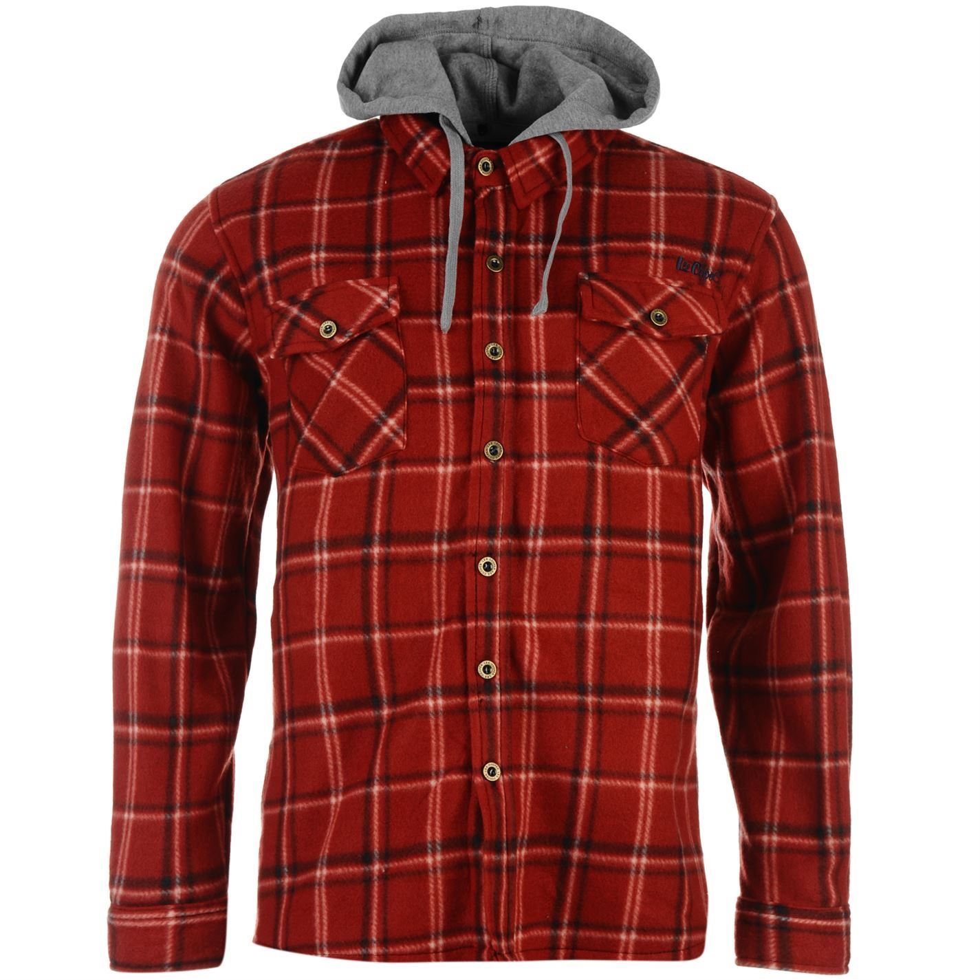 Lee cooper mens long sleeve polyester fleece hooded shirt for Cotton polyester flannel shirts