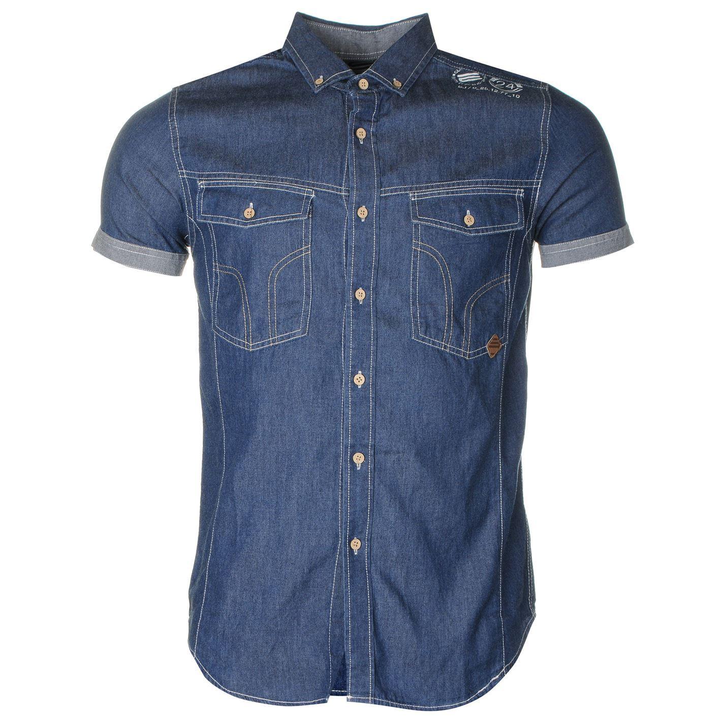 Smith mens del mar short sleeve shirt top button down for Denim button down shirts