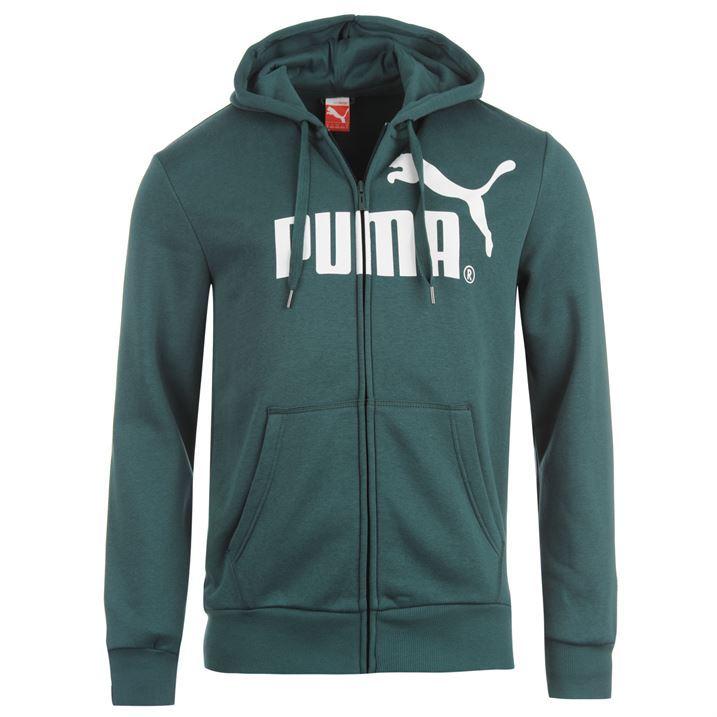 Puma Mens No 1 Hooded Zipped Jacket Chest Logo Cotton Sweater Jacket Sports Wear