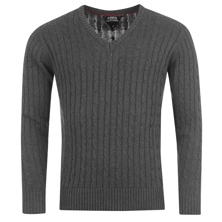 Kangol Mens Casual Wear V Neck Cable Chunky Knit Jumper Pullover Top