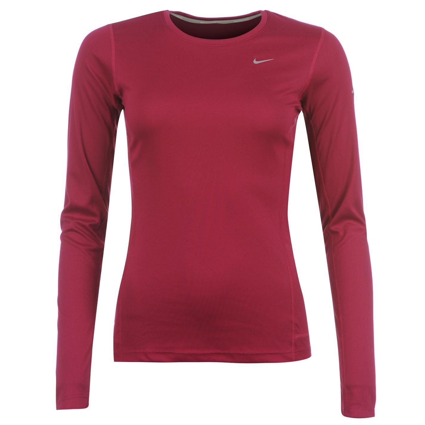 Nike womens miler t shirt ladies long sleeve running for Long sleeve running shirt womens