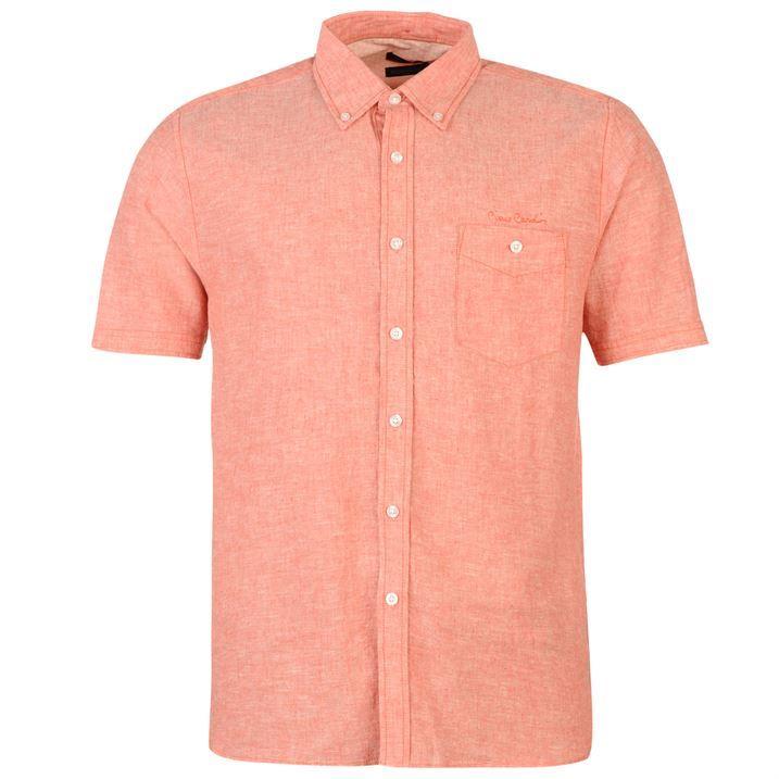 Pierre cardin mens short sleeve linen shirt button for Mens short sleeve linen dress shirts