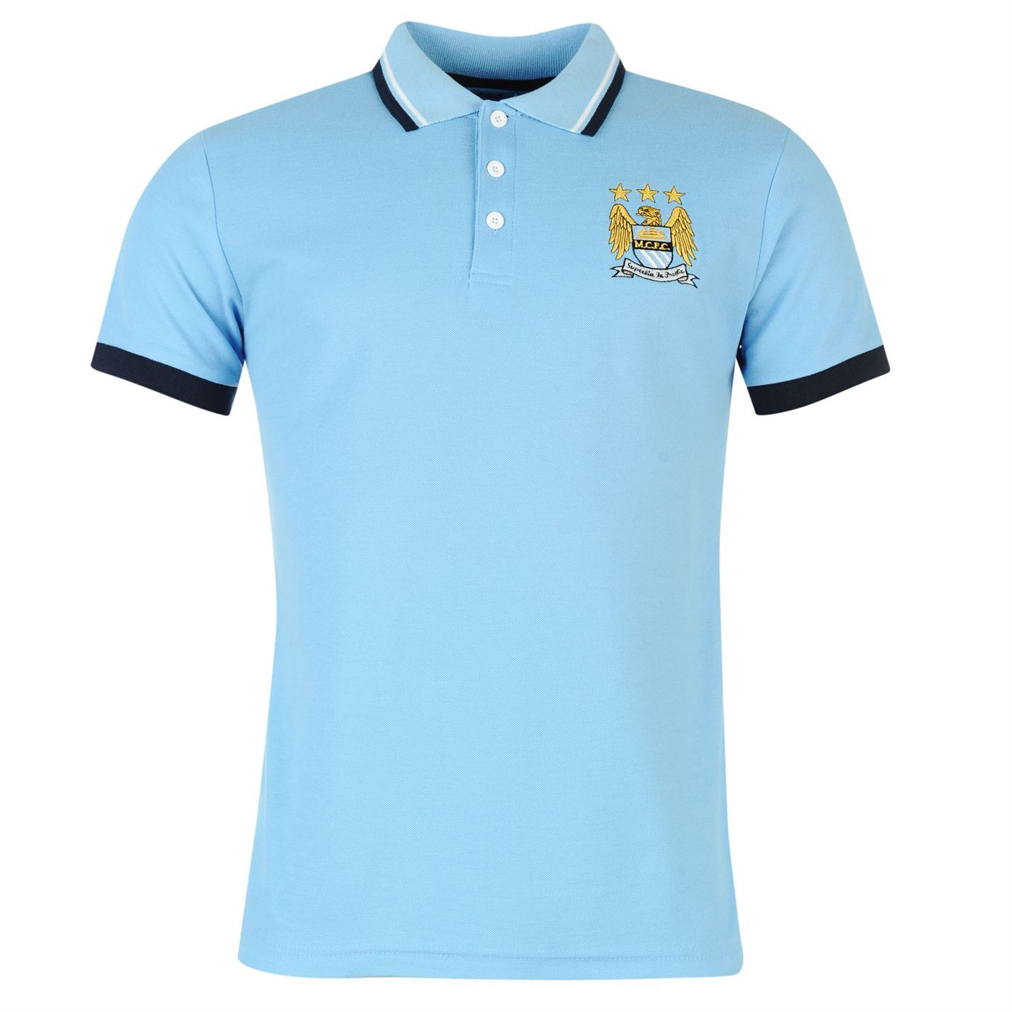 Source Lab Mens Manchester City Polo Football Short Sleeve