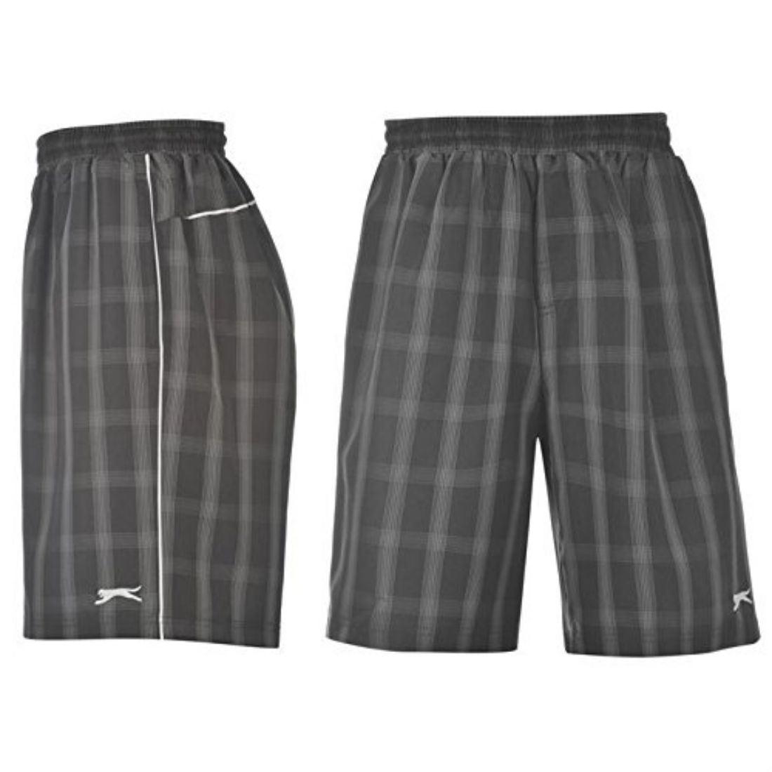 Slazenger Mens Check Shorts Pants Elasticated Waistband Internal Netting