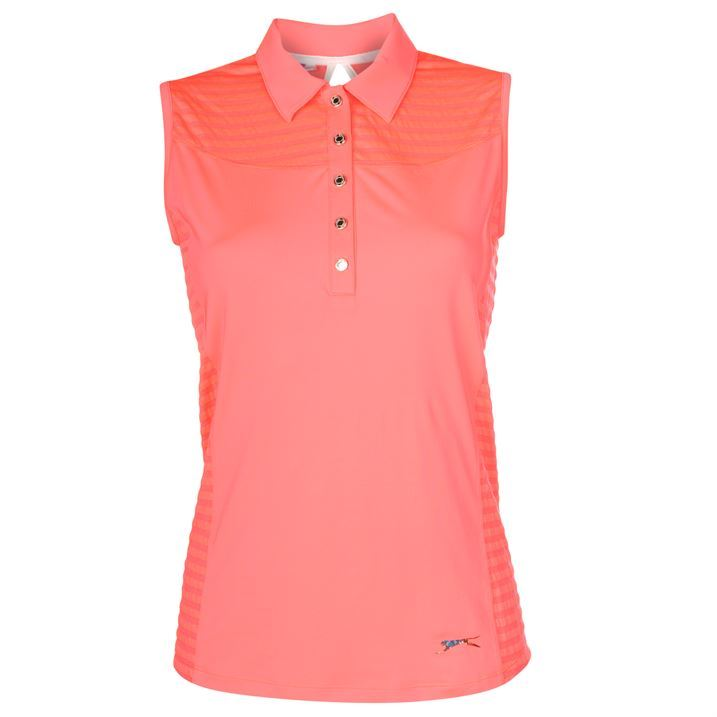 Slazenger ladies womens sleeveless polo shirt collared top for Ladies sleeveless golf polo shirts