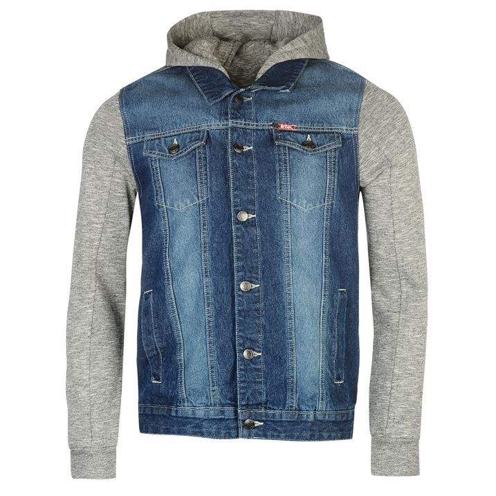 Lee Cooper Mens C Denim Fleece Jacket Hooded Button Front Collar Neck Top Coat | eBay