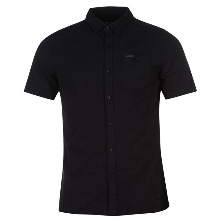 Firetrap mens blackseal seersucker shirt short sleeve for Mens short sleeve seersucker shirts