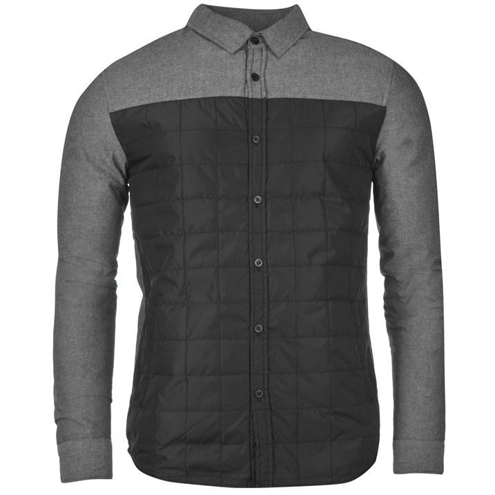 Fabric Mens Qltd Nyln Long Sleeve Shacket Shirt Jacket Style Button Fastening