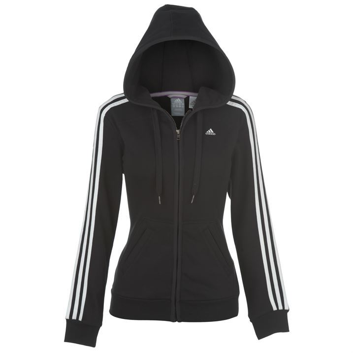 Womens Black Hooded Zip Up Sweatshirt - White Polo Sweater