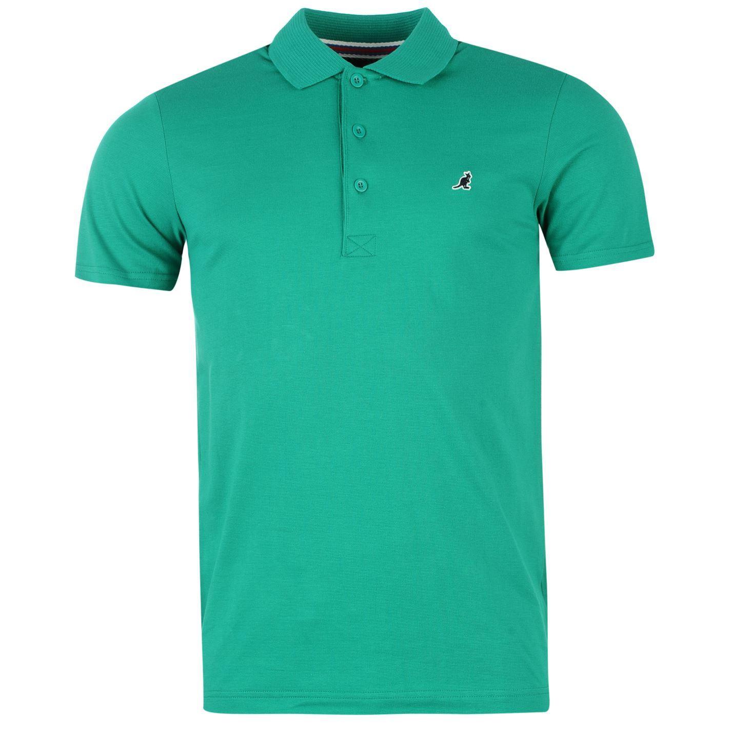 Kangol Mens Slim Fit Polo Neck T Shirt Ribbed Collar Short