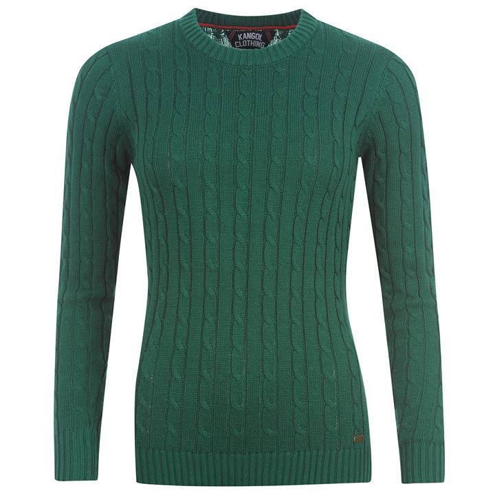 Kangol Womens Cable Crew Neck Knit Ladies Pullover Jumper Ribbed Sweater