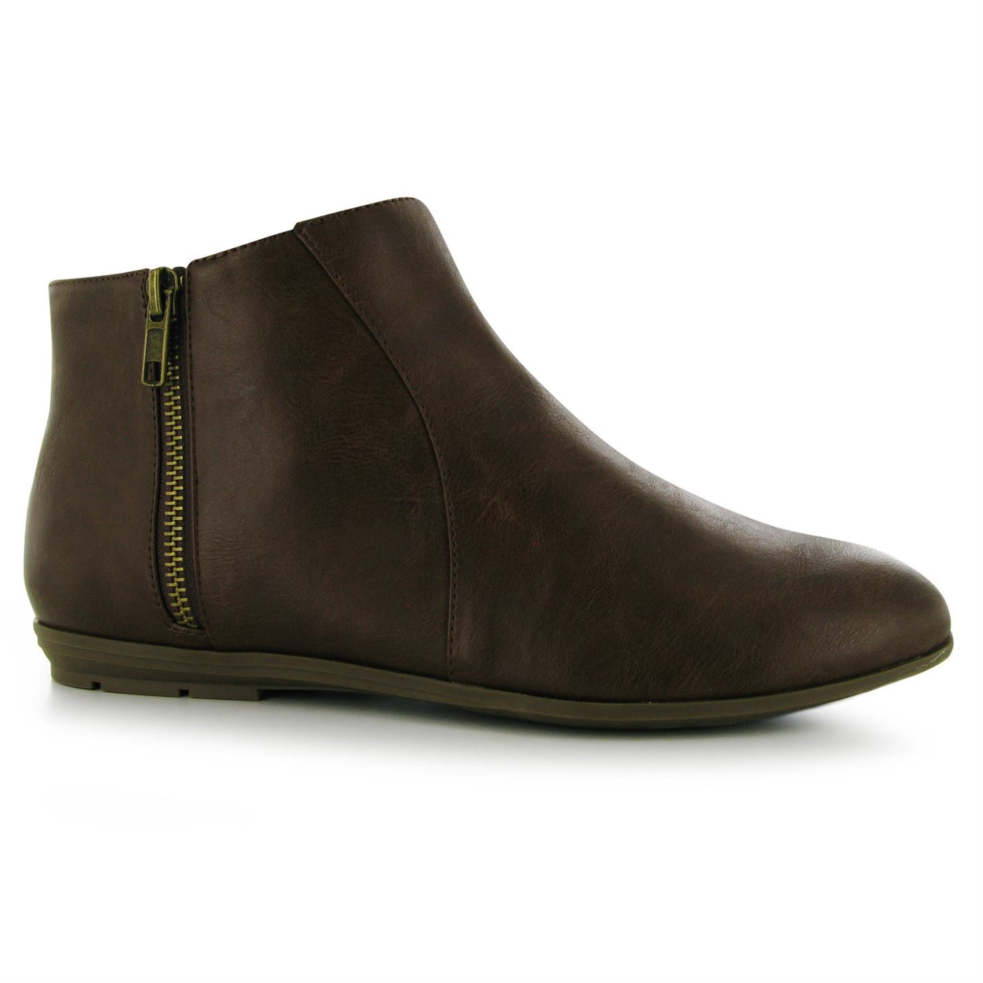 miso womens ladies bijou zip boots lace up flat ankle