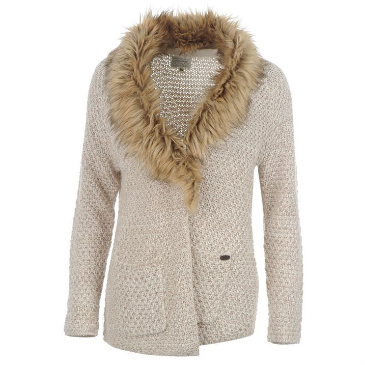 Firetrap Womens Ladies Casual Wear Fur Collar Knitted Cardigan Top