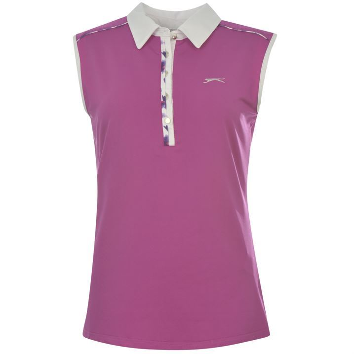 Slazenger womens sleeveless golf polo shirt ladies vest top for Ladies sleeveless golf polo shirts
