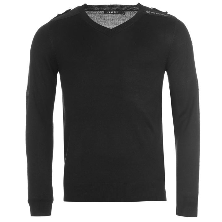 Crafted Mens V Neck Military Styling Long Sleeve Knit Top Pullover Jumper