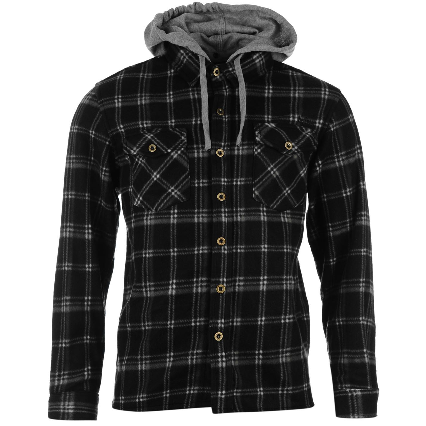 Lee cooper mens long sleeve polyester fleece hooded shirt for Polyester lined flannel shirts