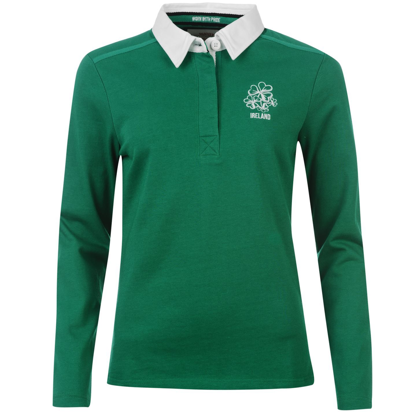 Team Womens Ladies Ireland Long Sleeve Rugby Shirt T Shirt