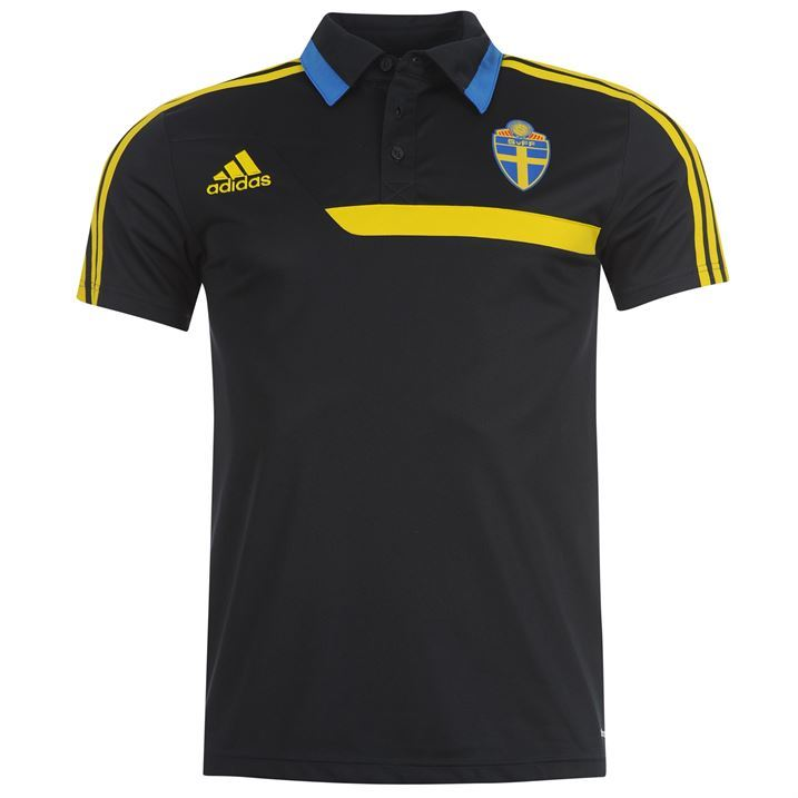 Adidas mens swedish football button up collar short for Button up collared sport shirts