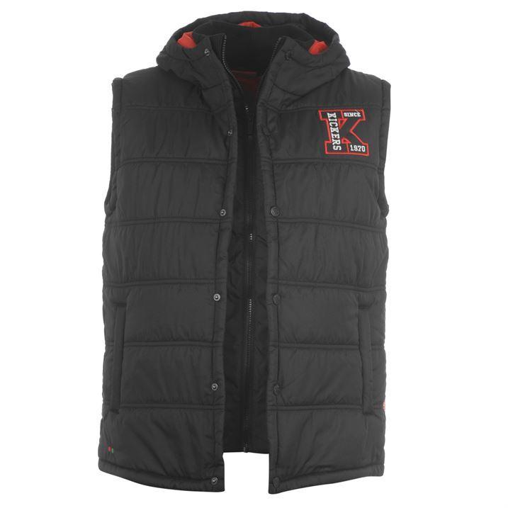 Kickers Mens Gilet Hood Press Stud High Neck Collar Sleeveless Jacket Outerwear
