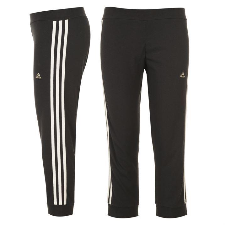 adidas Womens 3 Stripe Three Quarter Cotton Cuffed Hems Climalite Tights Ladies