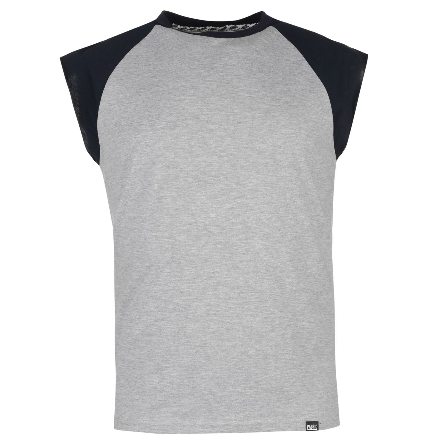 Fabric Mens Raglan Sleeveless T Shirt Cotton Crew Casual