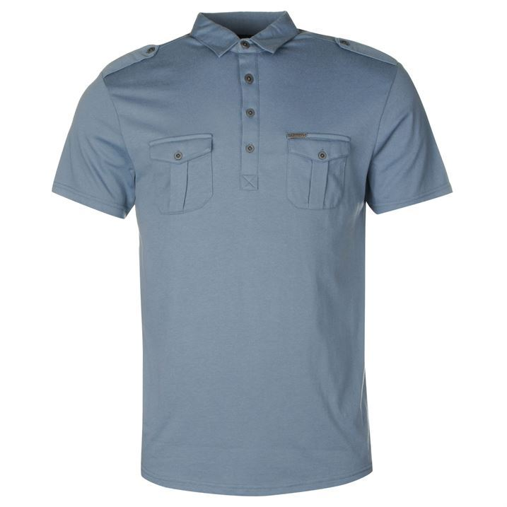 Firetrap mens double pocket polo t shirt regular collar for Mens double pocket short sleeve shirts