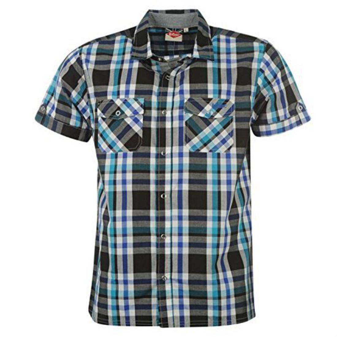 Lee Cooper Mens Short Sleeve Cotton Blend Press Stud