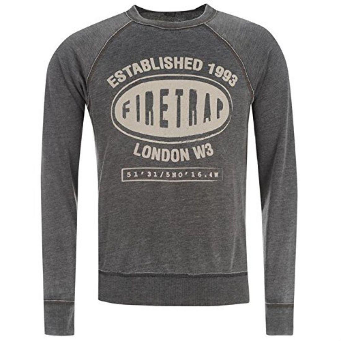 Firetrap Mens Sin Crew Sweatshirt Top Long Sleeves Print Clothing Brand New