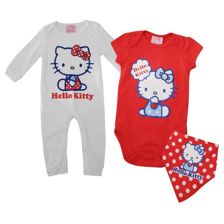 Hello Kitty Kids Childrens Long Sleeve 3 Piece Romper Suit Babies Baby Clothing
