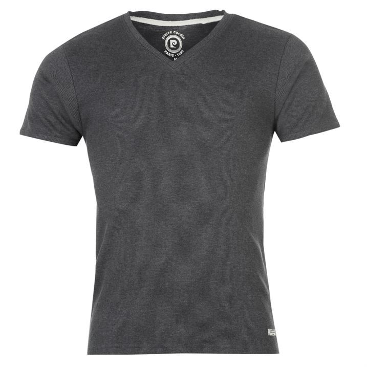 pierre cardin mens v neck ribbed t shirt short sleeve tee. Black Bedroom Furniture Sets. Home Design Ideas