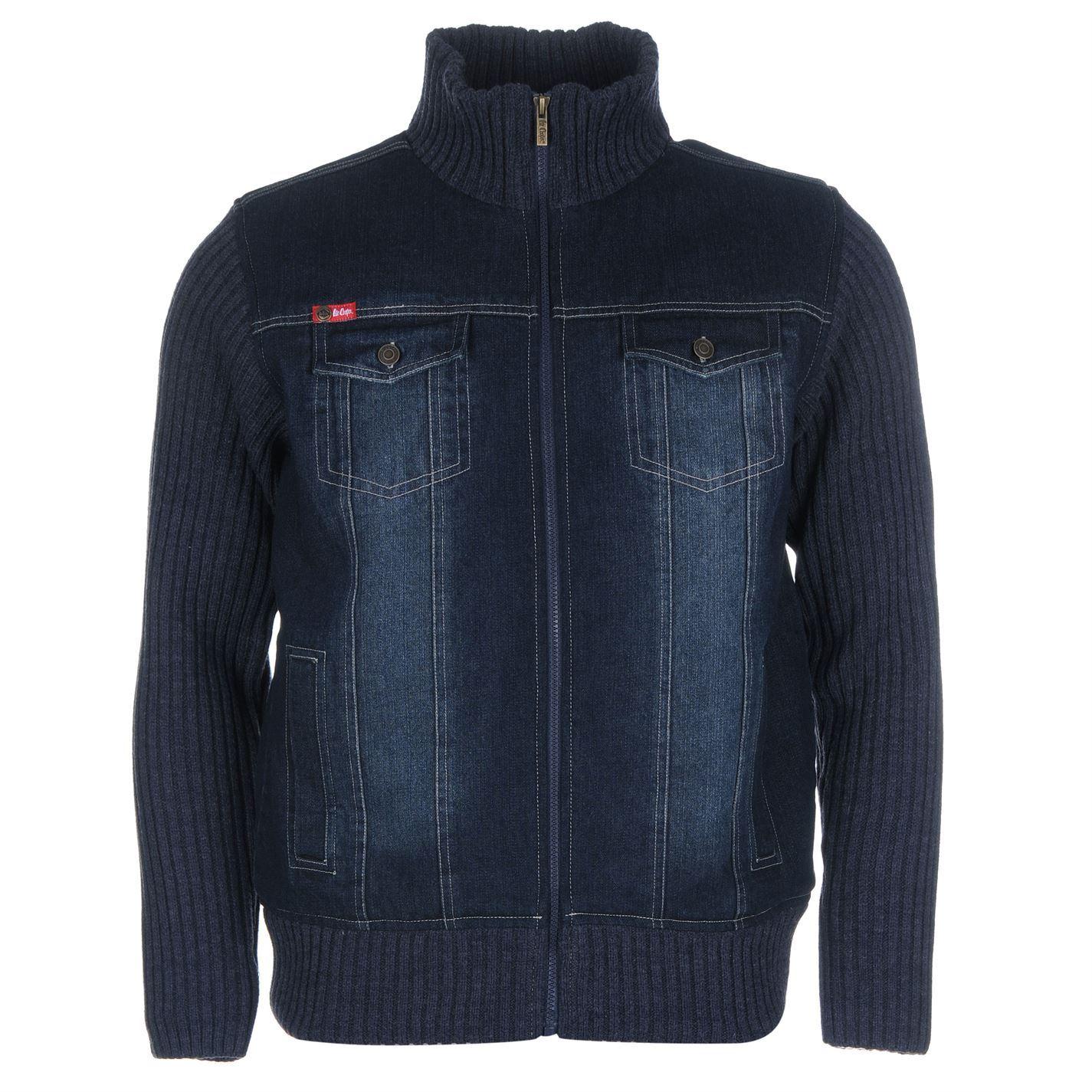 Lee Cooper Mens Lined Knit Denim Jackets Long Sleeve Zip Fastening Coat Tops | eBay