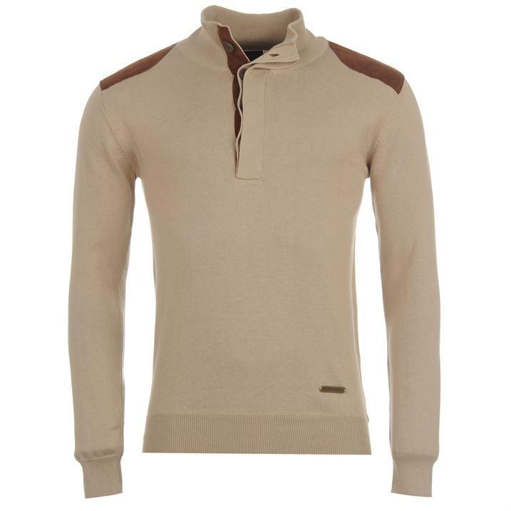 Kangol Mens Casual Quarter Button Knitted Long Sleeve Top Jumper Sweatshirts