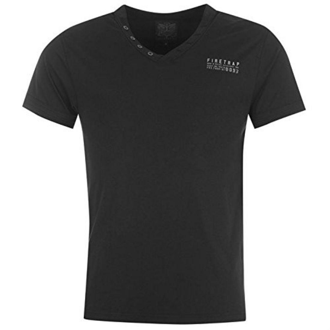 Firetrap Mens Striding V Neck T Shirt Short Sleeves Buttoned Collar Cotton Top