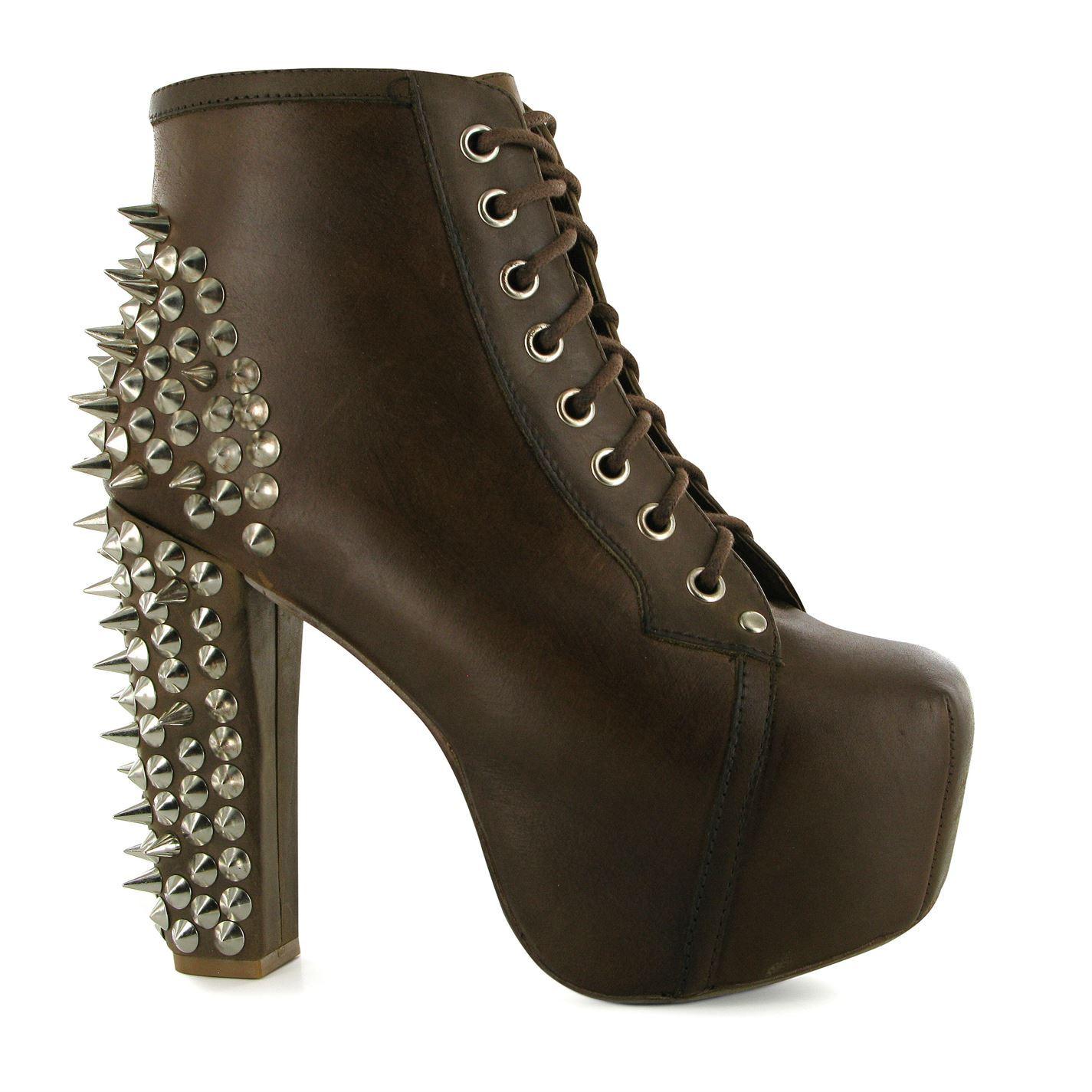 Jeffrey campbell womens lita spike cushioned shoes block heels lace up casual - Jeffrey campbell lita spike ...