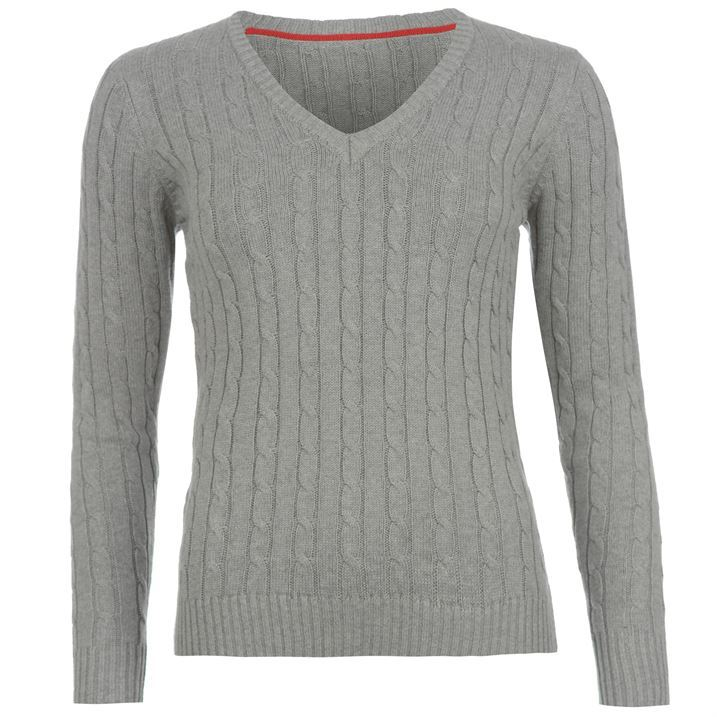 Kangol Womens Cable V Neck Knit Ladies Pullover Woollen Jumper ...