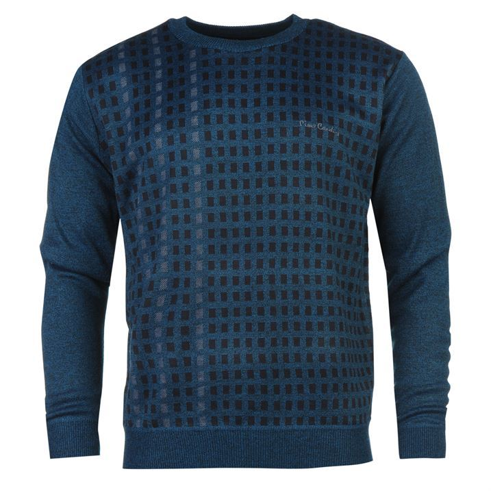 Pierre Cardin Mens Geo Knit Jumper Pattern Pullover Long Sleeve Crew Neck Top...