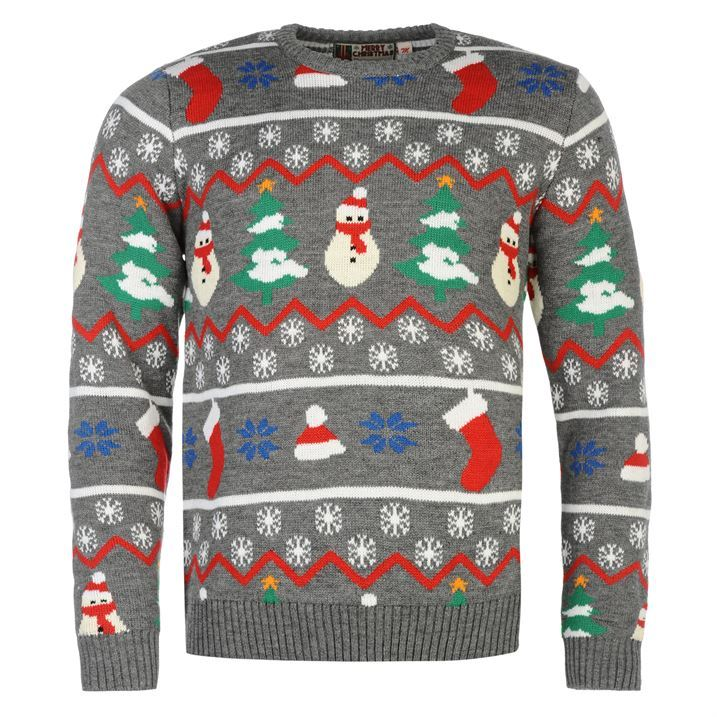 Star Mens Christmas Knit Jumper Ribbed Pullover Long Sleeve Crew Neck Top eBay