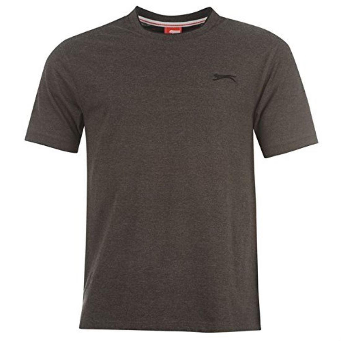 Slazenger Mens Plain Tipped Sport Short Sleeve Crew Neck T Shirt Tee