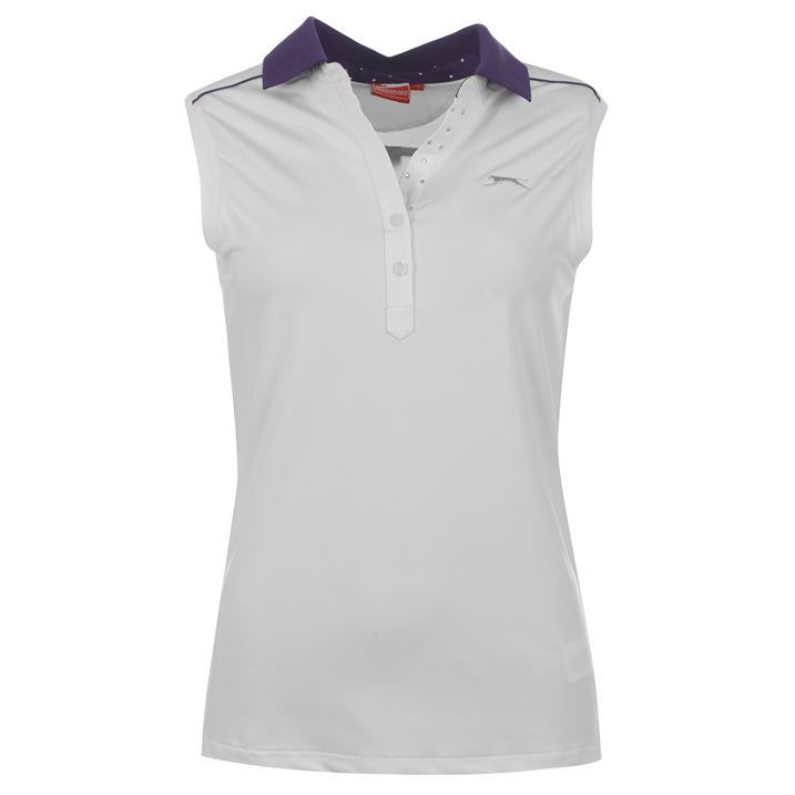 Slazenger womens ladies fashion clothing sleeveless golf for Ladies sleeveless golf polo shirts