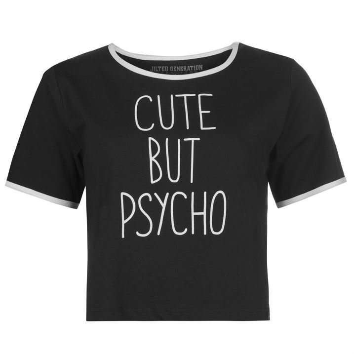 Womens-T-Shirt-Cropped-Jilted-Generation-Slogan-Crop-Top-Ladies-New