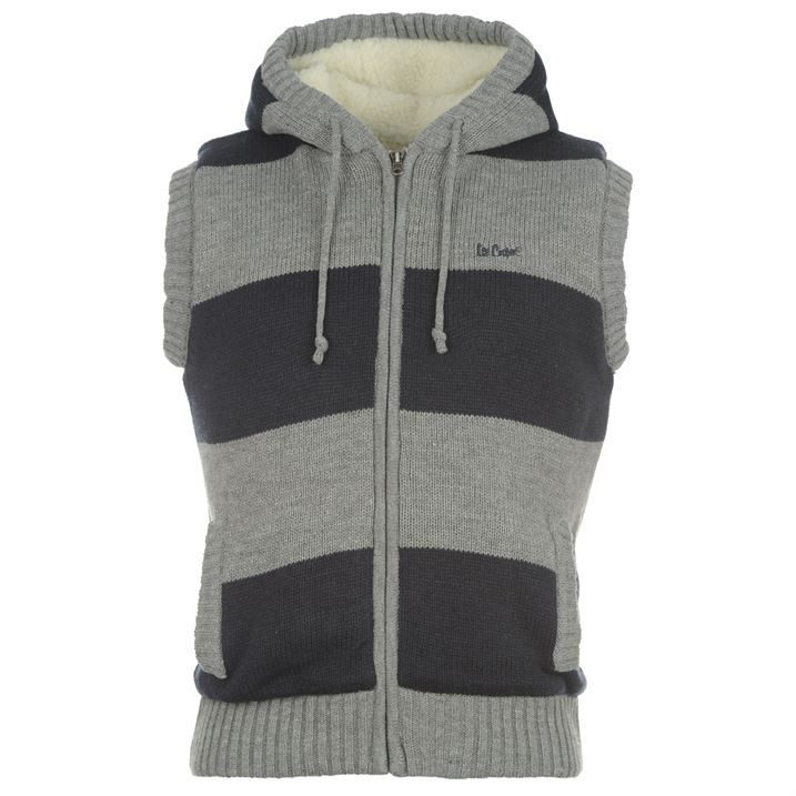 Lee Cooper Mens Lined Knit Gilet Body Warmer Faux Wool Hood Sleeveless Jacket