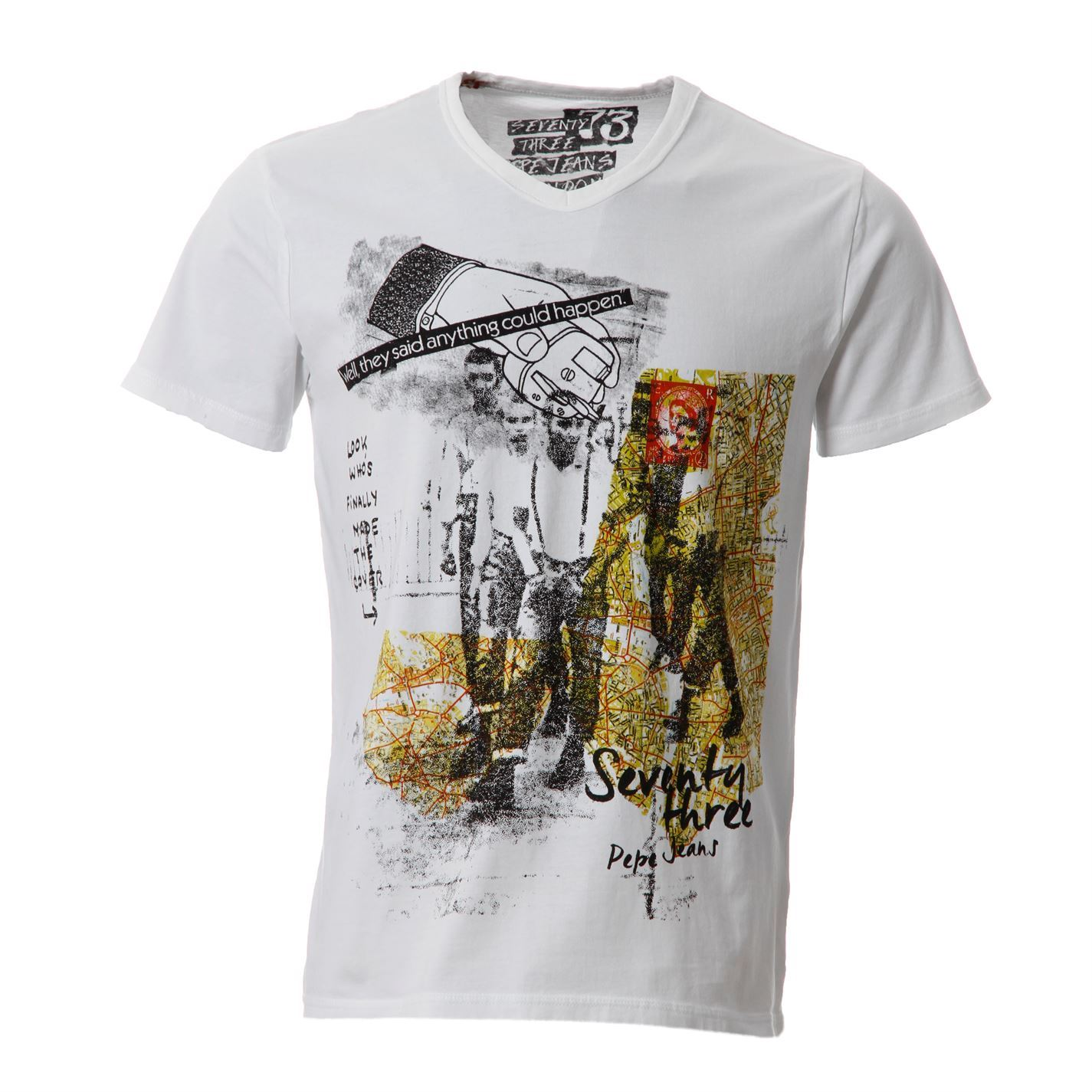 Pepe jeans mens covent printed t shirt short sleeve tee for Printed shirts for mens
