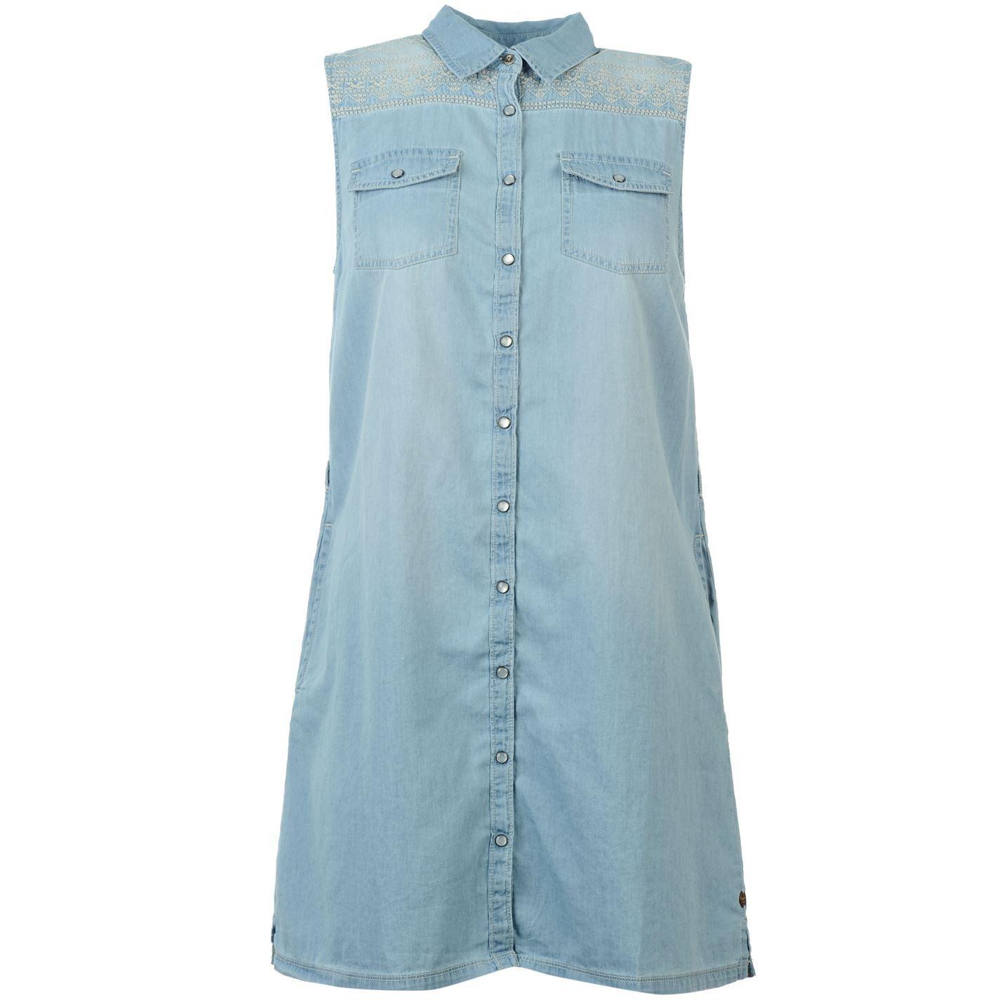 Pepe jeans womens lupita shirt dress ladies sleeveless for Sleeveless dress shirt womens