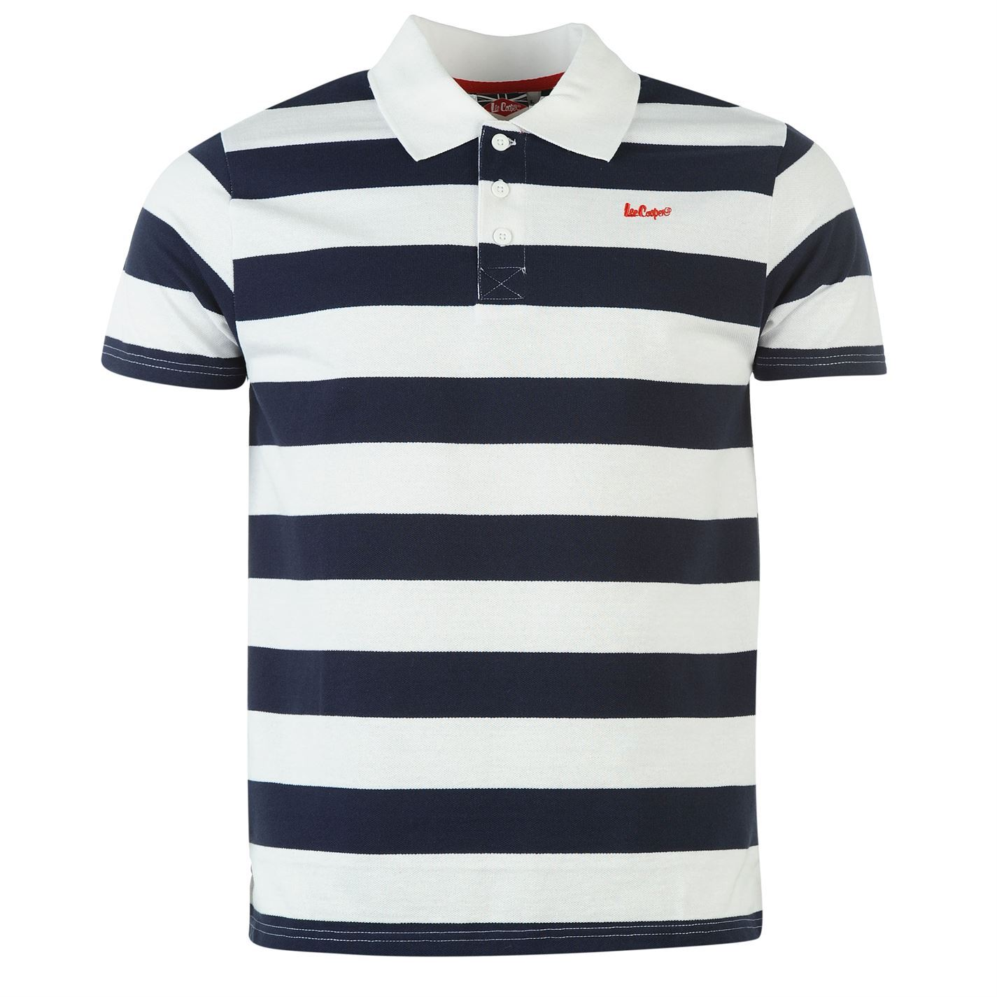 Lee cooper mens c stripe polo 3 button collar short sleeve for Button collar t shirt