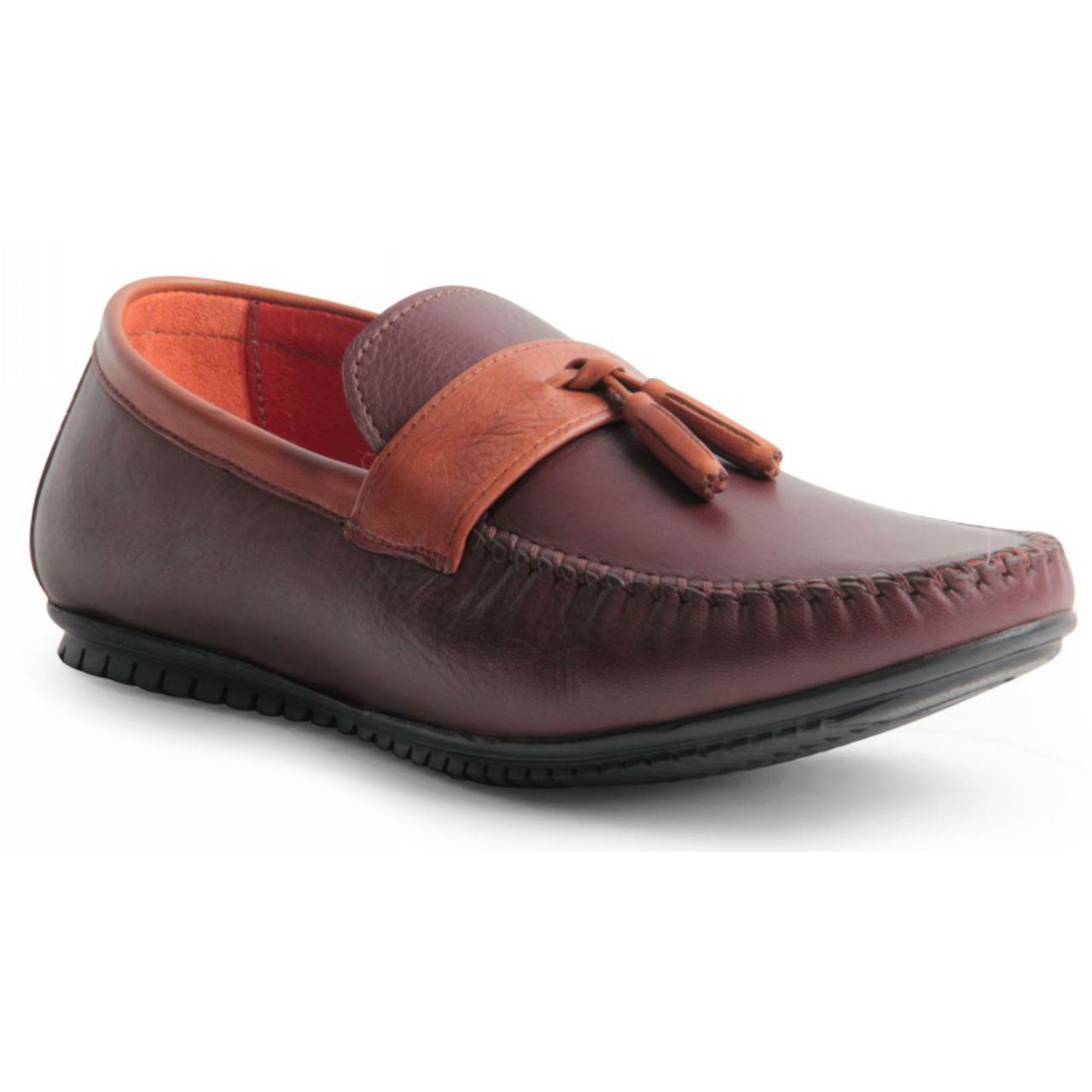 mens genuine leather slip on loafers heavy stitched tassel