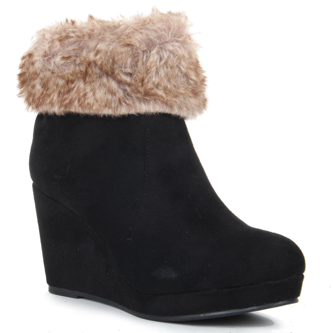 womens wedge heel synthetic fur zip up high heel